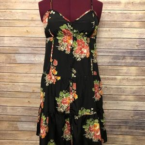 American Eagle Black & Floral Button Down Dress